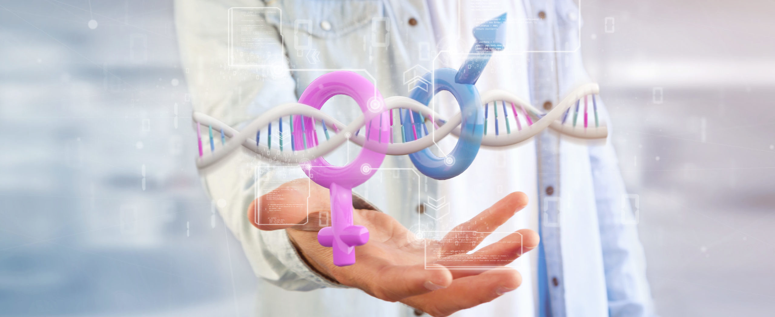 Businessman holding a DNA with data and male and female symbol - 3d rendering